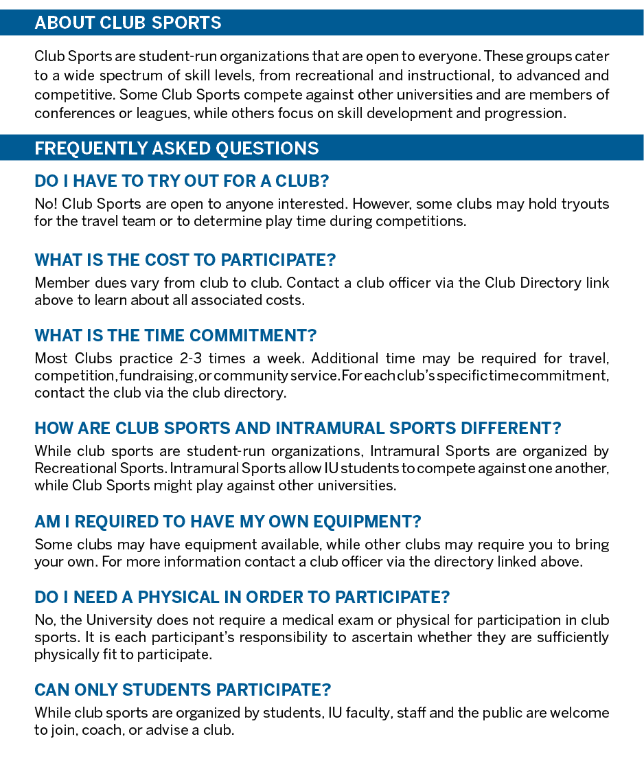 Club Sports Frequently Asked Questions